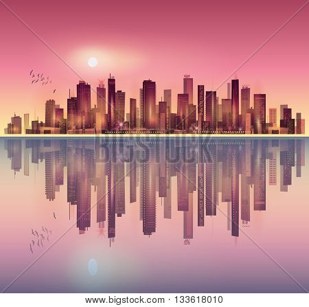 Urban Night City Landscape In Moonlight Or Sunset, With Reflection In Water