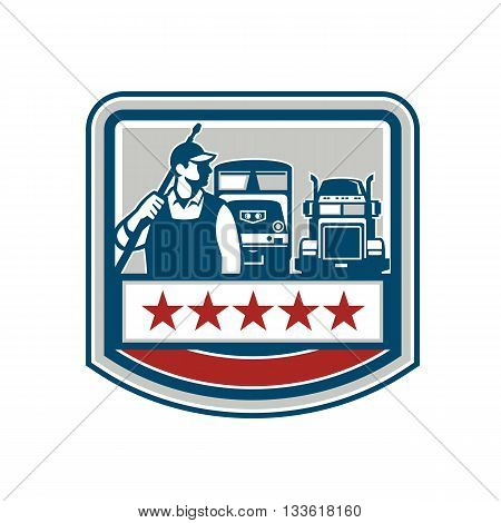 Illustration of a male pressure washing cleaner worker holding a pressure water gun on shoulder looking to the side with truck and train in the background viewed from front set inside shield crest with stars.