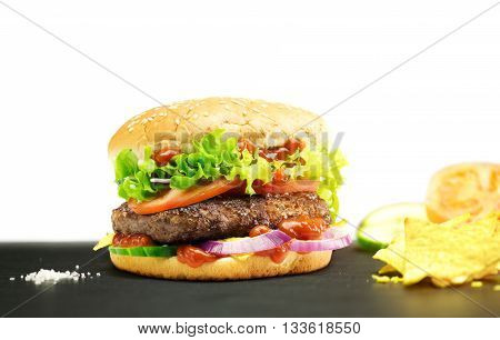 Hamburger homemade authentic hamburger with fresh vegetables