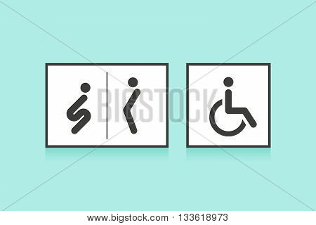 Set of icons for restroom or toilet. Man, woman and wheelchair person symbol. Black icons toilet or WC on white backdrop and on color background. Vector illustration