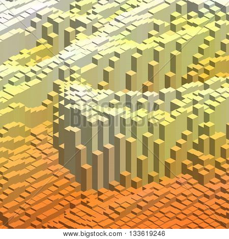 Abstract Background With 3D Cubes. Yellow, Orange, White Colors.