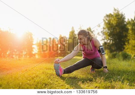Exercise Woman Stretching Hamstring Leg Muscles.