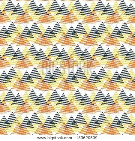 Vector seamless geometric pattern with striped triangles, abstract dynamic shapes in bright colors. Hand drawn background with overlapping lines in 1990s fashion style. Modern textile print in yellow