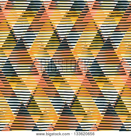 Vector geometric seamless pattern with lines and triangles in black, yellow, orange colors. Striped modern bold print in 1980s style for summer fall fashion. Abstract techno chevron background
