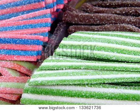Oriental candy stripes on bazaar in Tel Aviv Israel
