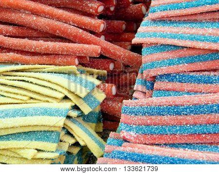 Oriental candy stripes and rods on bazaar in Tel Aviv Israel