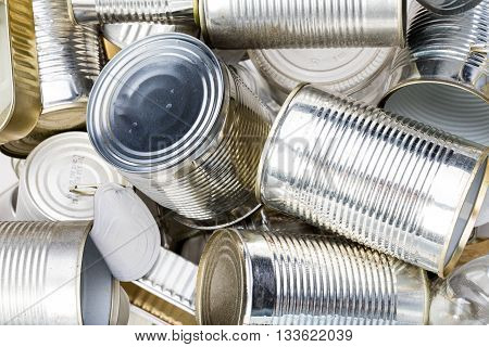 Group Of Clean Used Tin Can In The Trash