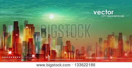 Modern Night Cityscape In Moonlight Or Sunset, With Cloudy Sky