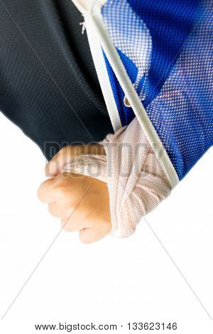 top view blur kid broken arm with bandage for background
