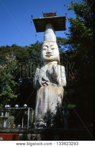 The Eunjin Mireuk Standing Stone Buddha was built in 1006 a.d. at the Gwanchok-sa Temple. Photo circa 1987.