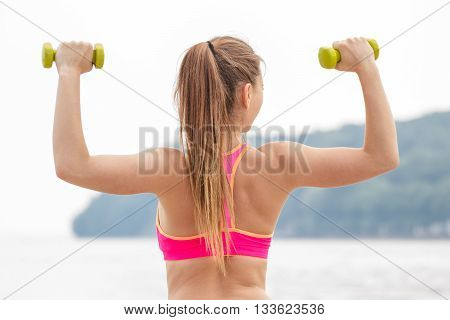 Slim Girl In Sportswear Exercising With Dumbbells On Beach, Sports Lifestyle, Slimming Concept