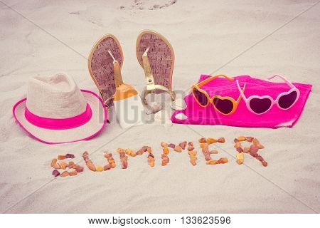Inscription Summer And Accessories For Vacation On Sand At Beach, Sun Protection, Summer Time