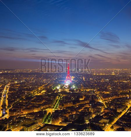 Paris, France - June 6, 2016: Aerial view of One-off concert by David Guetta on the Champ de Mars, in front of Eiffel tower, pre UEFA European Championchip event in Paris, France on June 9th 2016.