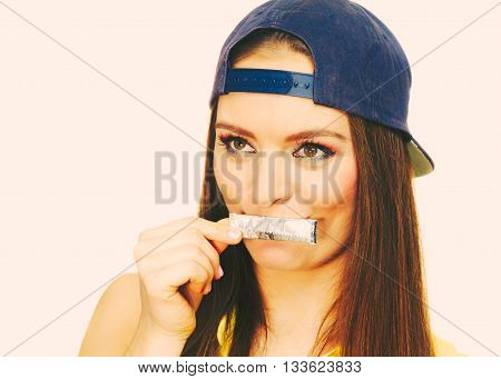 Young Woman With Chewing Gum.