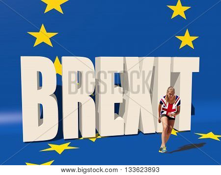 United Kingdom exit from europe relative image. Brexit named politic process. Healthy young woman preparing for a run. Fit female athlete in Britain flag textured shirt. 3D rendering