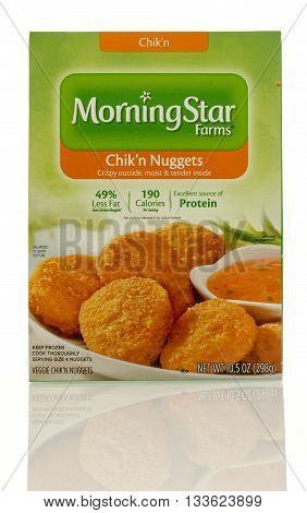 Winneconne WI - 7 June 2016: Box of Morning Star Farms chik'n nuggets on an isolated background