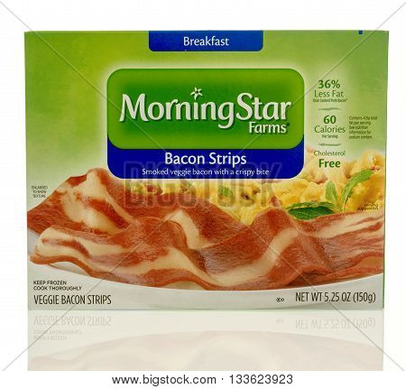Winneconne WI - 7 June 2016: Box of Morning Star Farms bacon strips on an isolated background