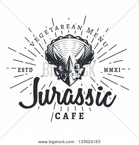 Jurassic cafe logo template. Dinosaur vegetarean menu logotype. Dino tattoo studio design. Vector sunburst label. Cretaceous period park retro illustration. Fury Dino insignia concept. Ancient world badge.