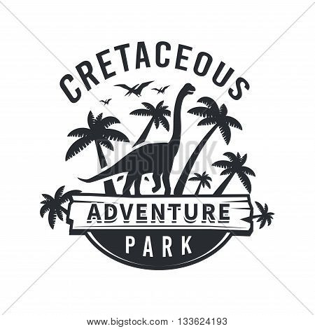 Vector dinosaur logo concept. brachiosaurus adventure park insignia design. Jurassic period illustration. Dino Vintage T-shirt badge on white background.