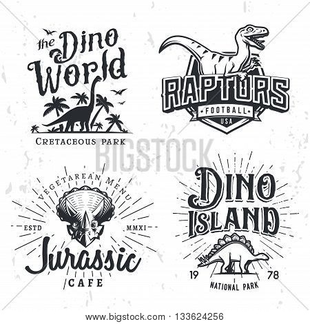 Dinosaur Vector Logo Set. Triceratops t-shirt illustration concept. Raptors college sport team insignia design template. Vintage Jurassic Period labels. Theme park badges collection.