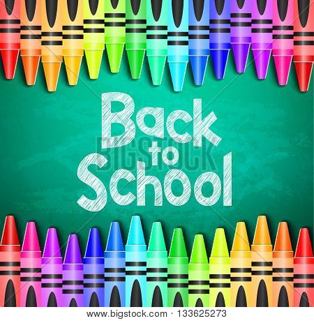 Back to School Text on Green Chalkboard Background with Different Colored Crayons