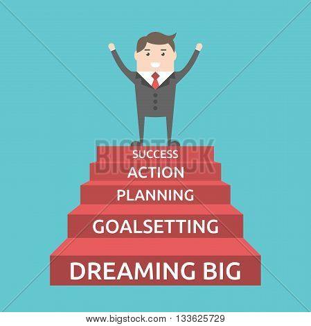 Triumphant businessman standing on five steps to success. Dream goal plan action motivation development career and strategy concept. EPS 8 vector illustration no transparency