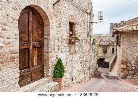 Old Street In Medieval Town San Gimignano, Tuscany, Italy
