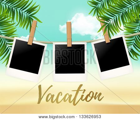 Summer three photo frames on the rope with summer sea and beach vacation -  vector illustration