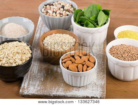 Food Sources Of Silicon On  Wooden Background.