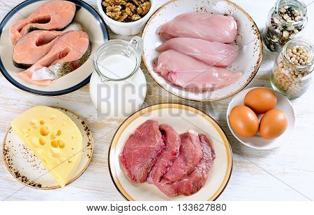 Foods High In Protein. Diet Eating.