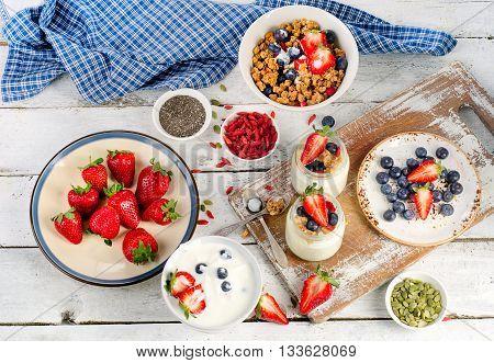 Yogurt, Muesli And Berries For Healthy Diet Breakfast On Wooden Table.
