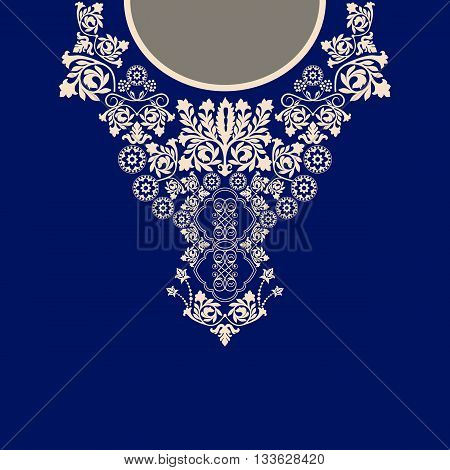 Vector design for collar shirts, shirts, blouses. Ethnic flowers neck. Paisley decorative border