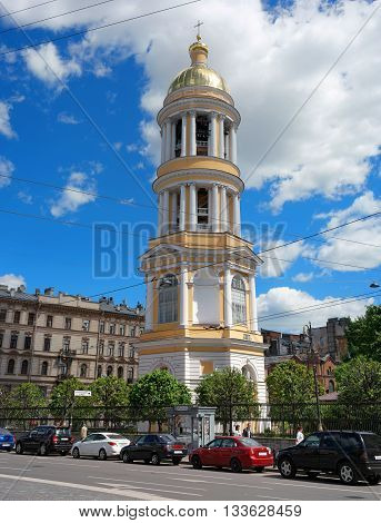 Saint-Petersburg Russia - June 4 2016: The bell tower of the Orthodox Vladimir Cathedral. Cathedral acting located on the Vladimir area.