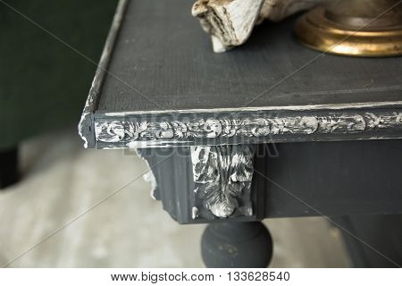 Close-up Angle Of An Old Gray Wooden Table