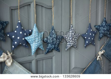 Decoration Of Fabric Hanging Stars
