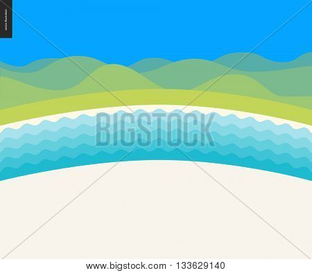 Summer beach landscape background - cartoon vector illustration of summer landscape with sandy cost, river water and green layered hills on blue sky