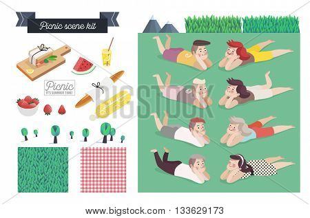 Picnic scene kit - a collection of vector cartoon elements for picnic scene creating. Few couples - young man and woman laying together on grass, checkered plaid and grass field patterns, few food
