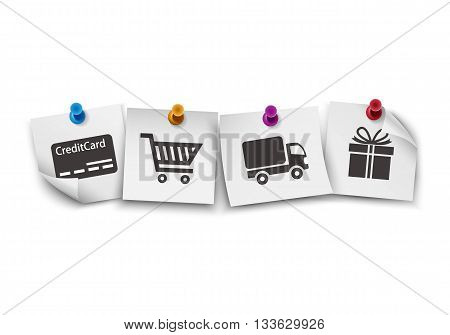 E-commerce symbols on white paper with colorful push pin