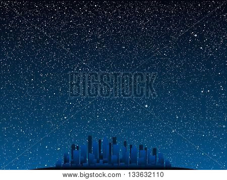Silhouette of the city at night on a background of the starry sky.