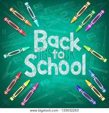 Back to School and School Items on Green Chalkboard Background with Different Colored Crayons