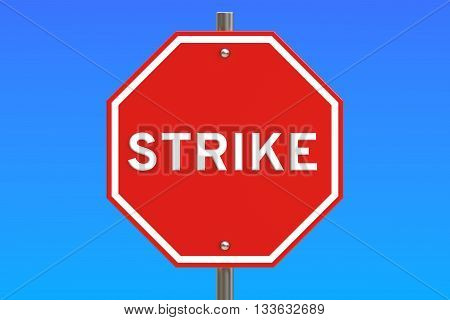 strike road sign 3D rendering isolated on blue sky