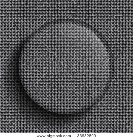 Vector glass circle button on shiny silver paillettes background . Sparkle glitter background. Glittering sequins wall.