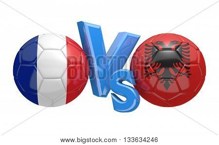 Football competition between national teams France and Albania, 3D rendering