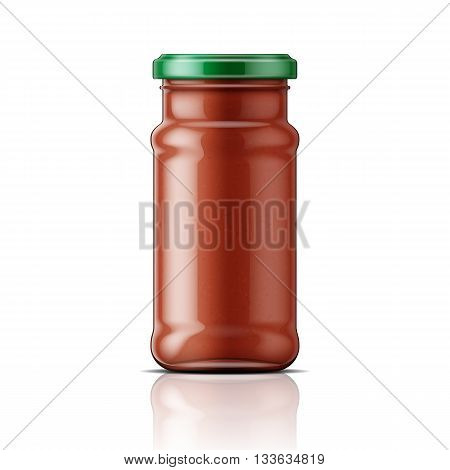 Glass jar with red taco sauce. Vector illustration. Packaging collection.