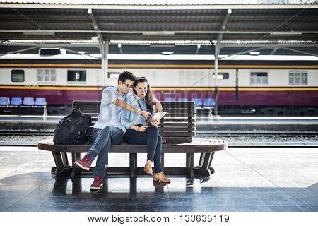 Couple Friendship Hangout Traveling Map Concept