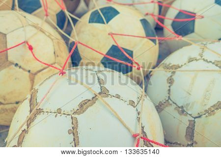 Group of Old football  ( Filtered image processed vintage effect. )