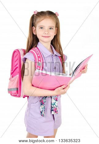 Portrait of smiling schoolgirl with book and backpack isolated on a white background