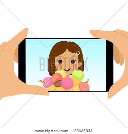 Smartphone photo of cute girl with ice cream cones. Fun happy kid holds a lot of ice cream. Cartoon stylized vector illustration of a photo on smartphone of joyful child with ice cream.