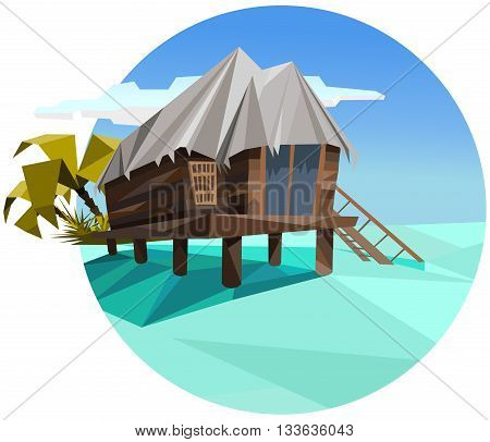 exotic polygonal style tropical bungalow on the sea