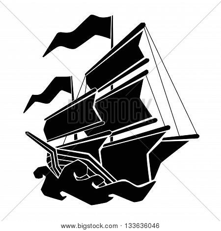 simple black vector pirate boat on the sea